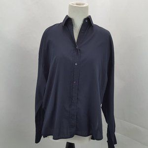 Vince. Women's Size XS Navy Blue Sheer Button Up